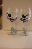 Blue Wren Wine Glass